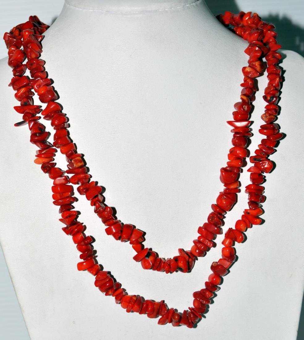 Red coral necklace long