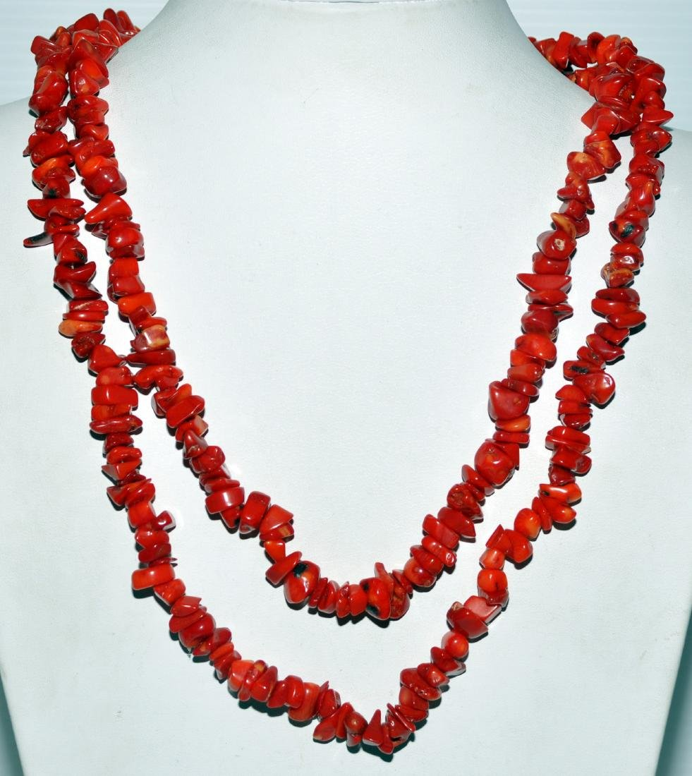 Red coral necklace long - 2