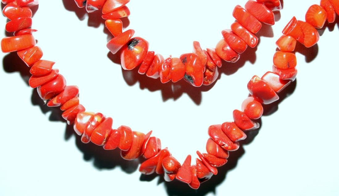 Red coral necklace long - 3
