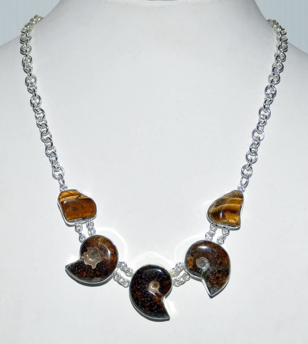 Sterling ammonite necklace fossil