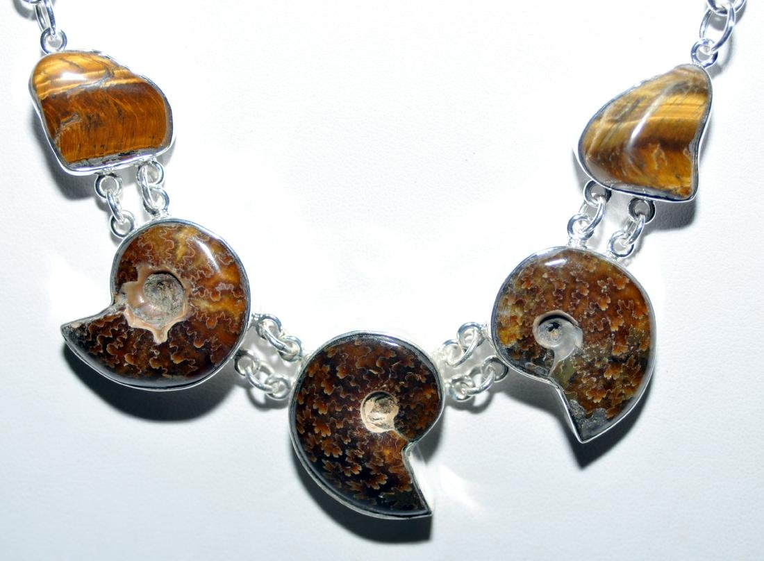 Sterling ammonite necklace fossil - 2