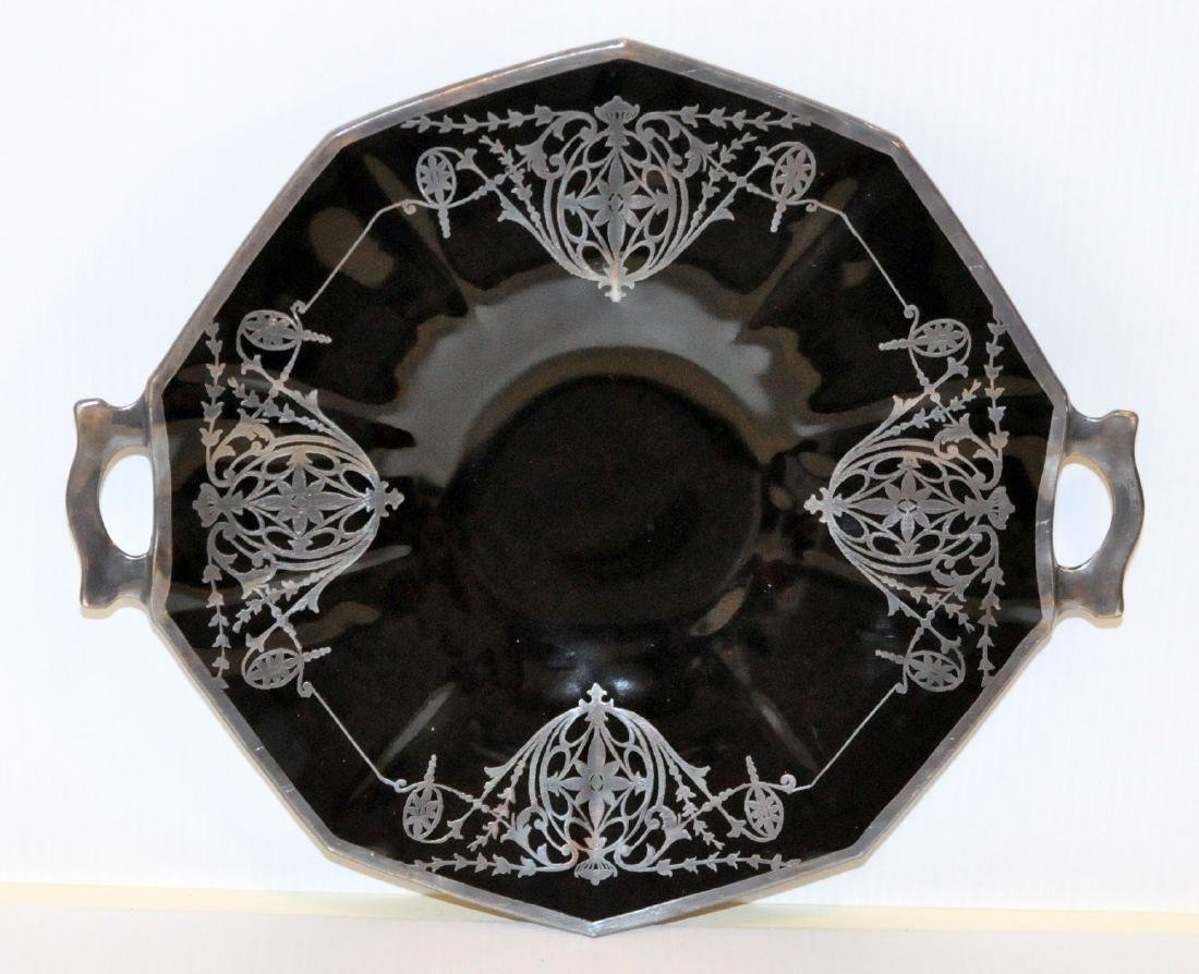 Silver overlay black glass platter