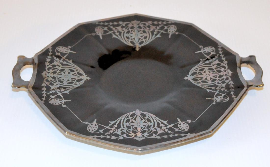 Silver overlay black glass platter - 2