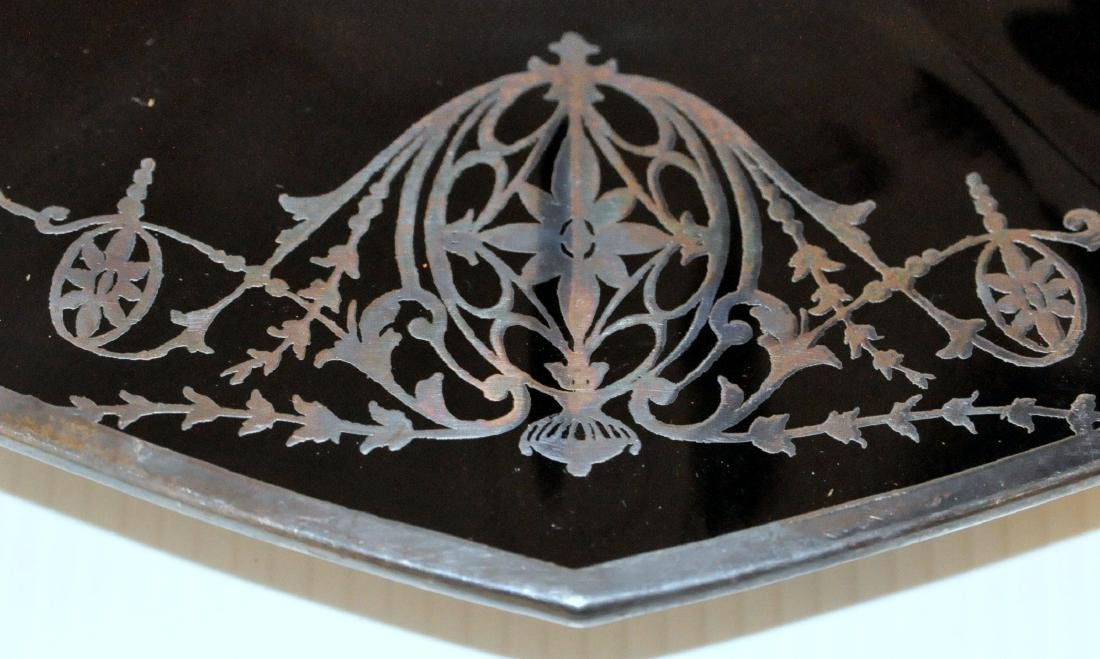 Silver overlay black glass platter - 3