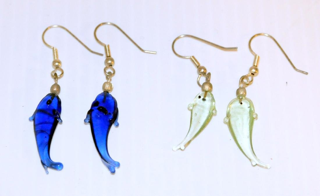 Dolphin glass earrings cobalt , sea green
