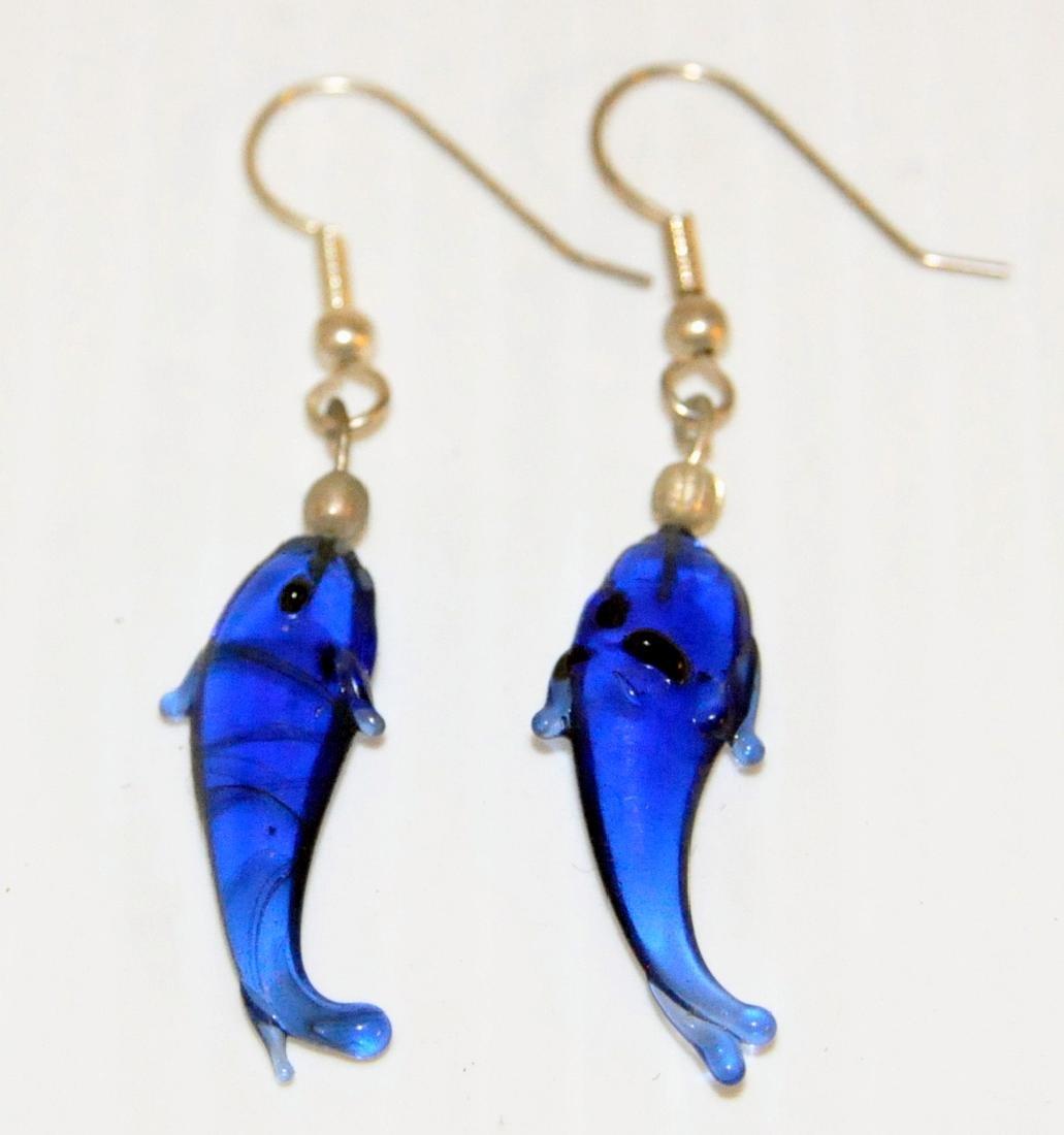 Dolphin glass earrings cobalt , sea green - 2