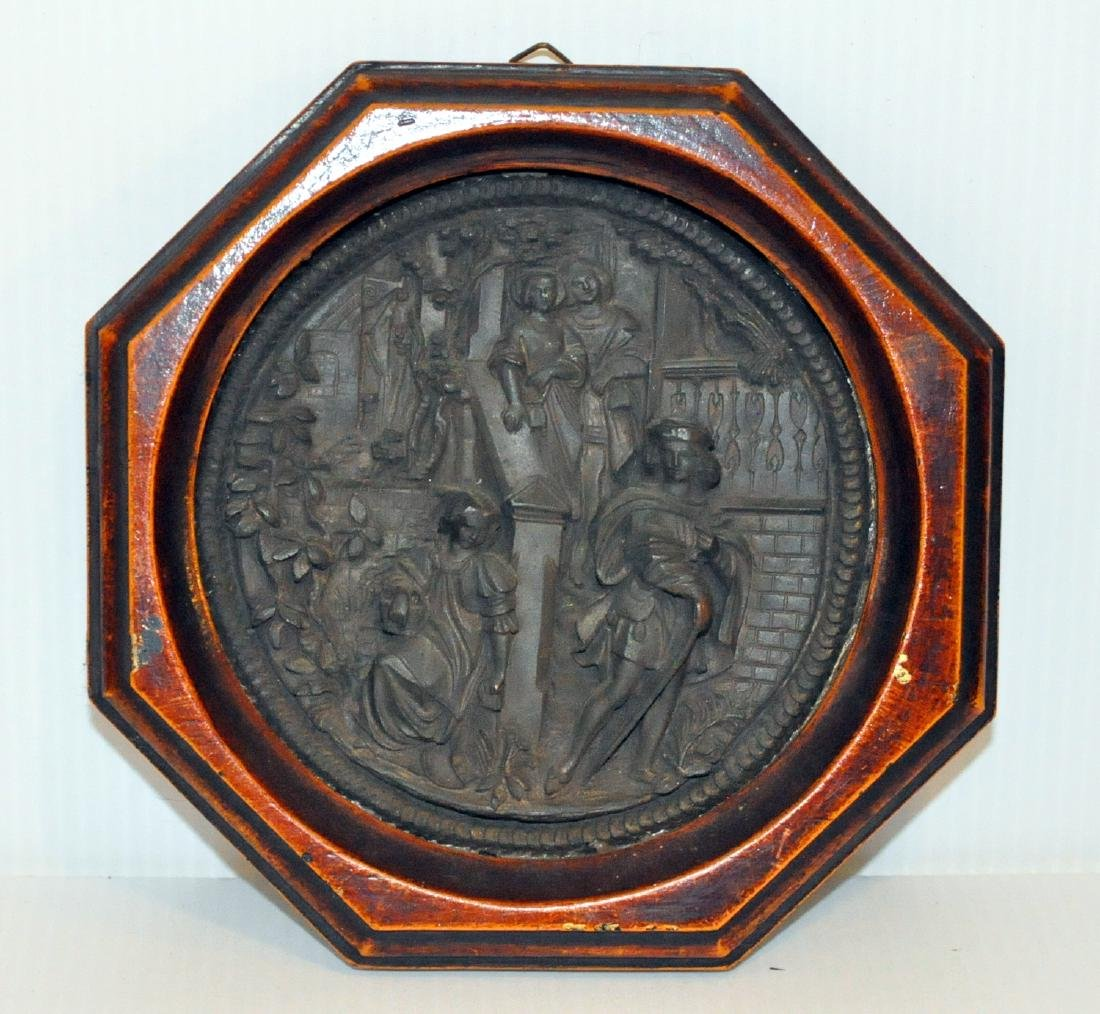 Bronze vintage wall picture repousse - 2