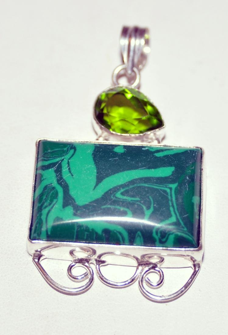 Malachite sterling pendant green