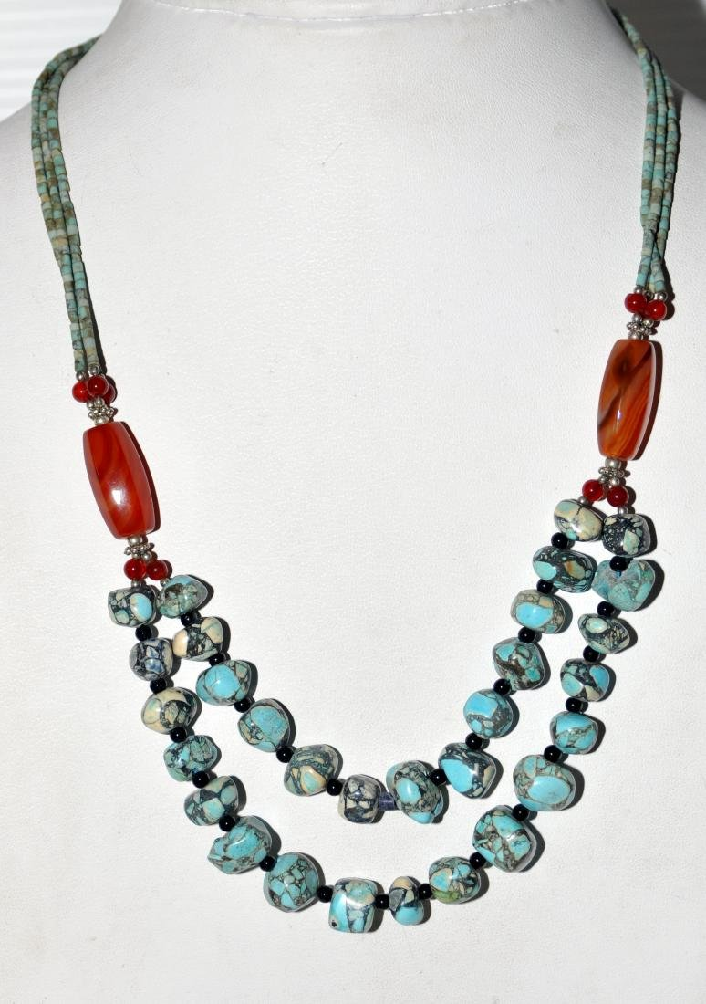 Turquoise howlite nugget necklace - 5