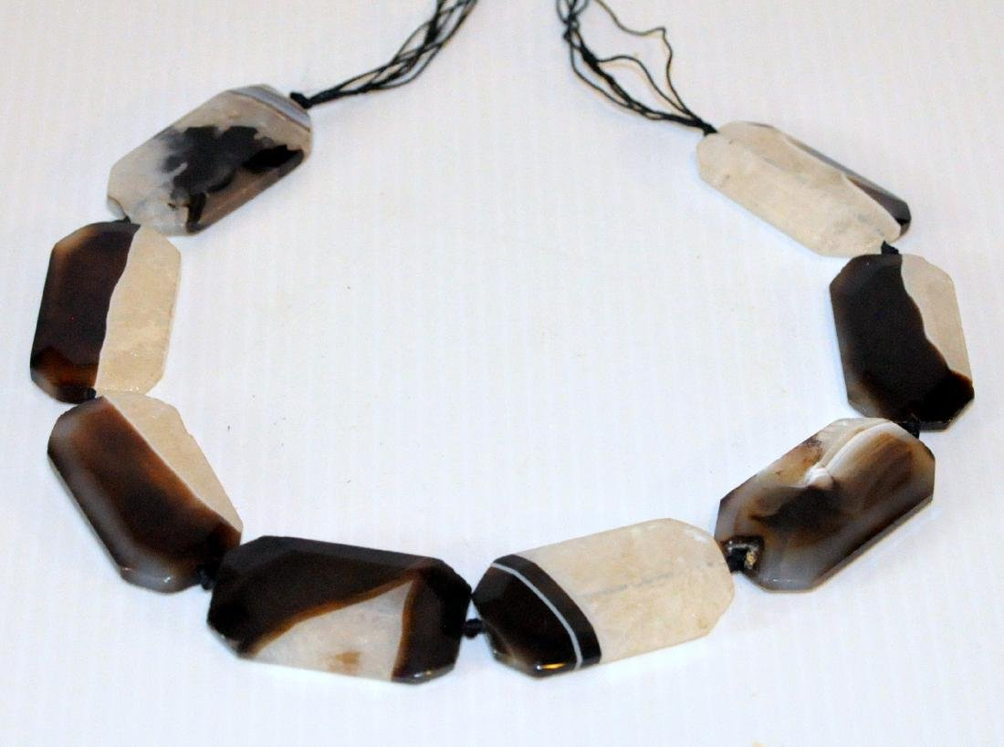 Agate necklace beads banded