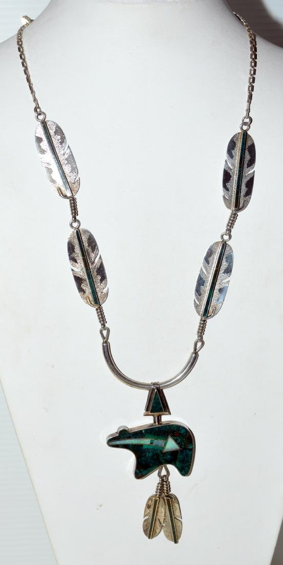 American Indian bear fetish necklace Navajo signed