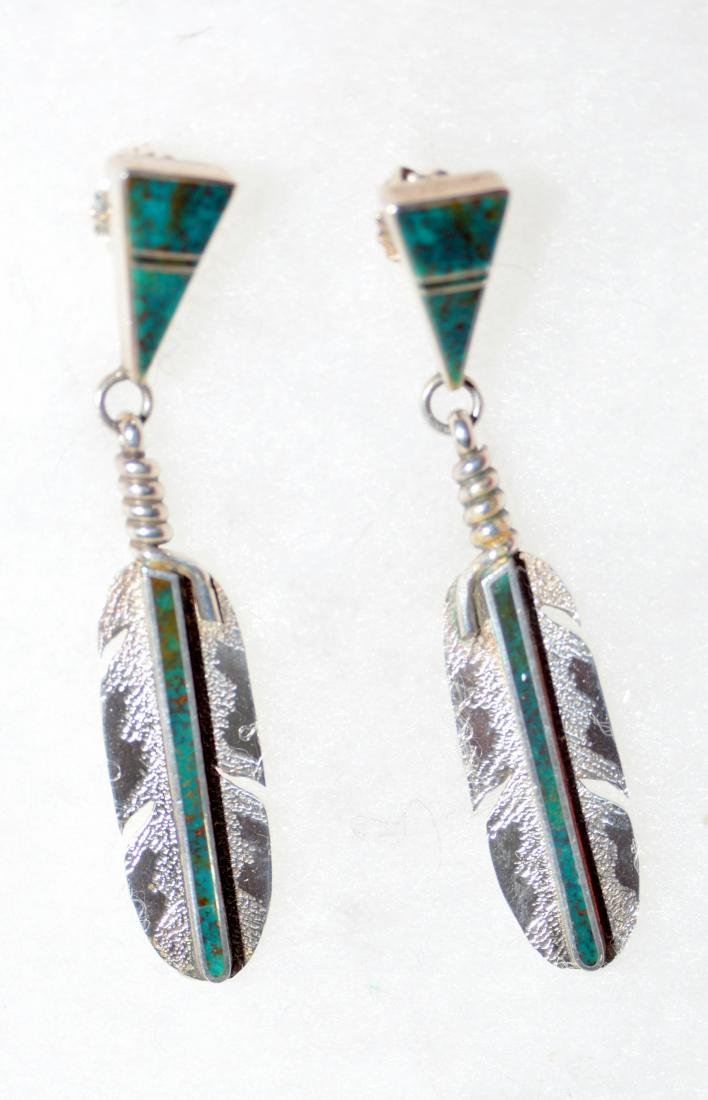 Feather sterling American Indian earrings custom signed
