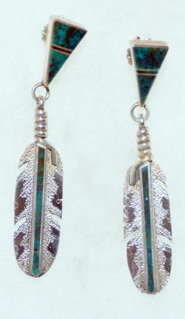 Feather sterling American Indian earrings custom signed - 2