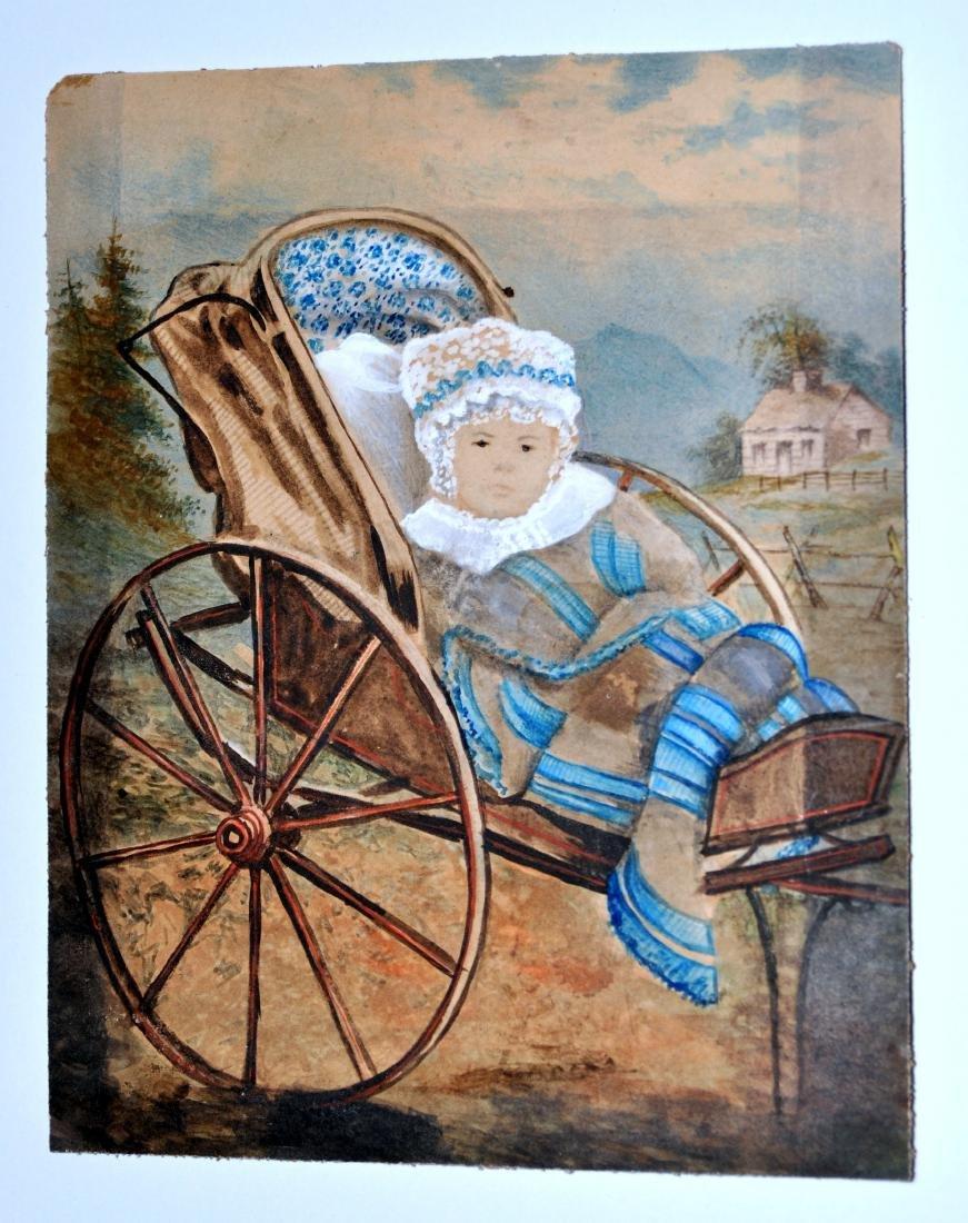 Watercolor Americana Baby in Stroller-1840