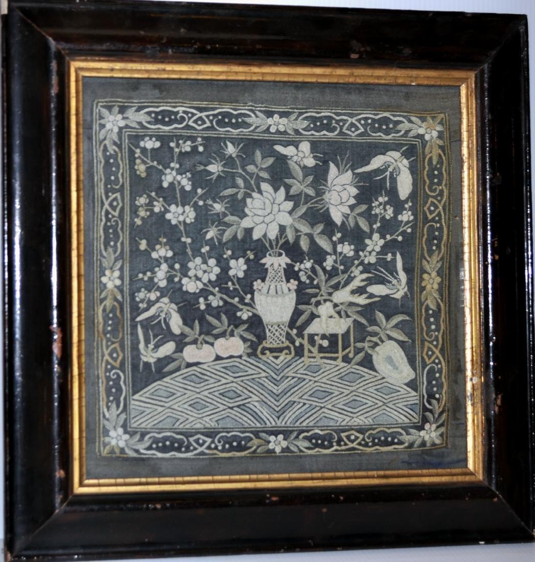 American folk art stitched floral still life