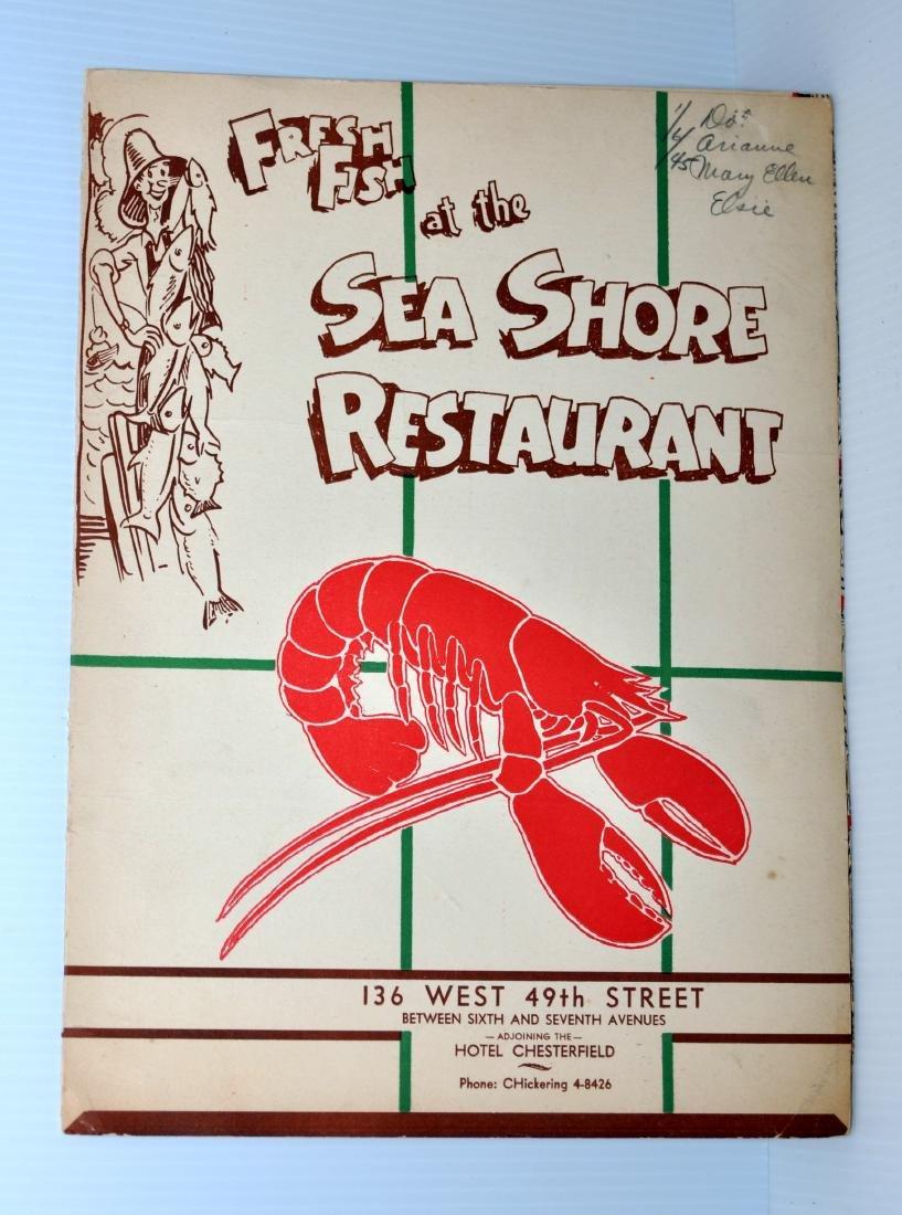 1943 Seafood restaurant menu