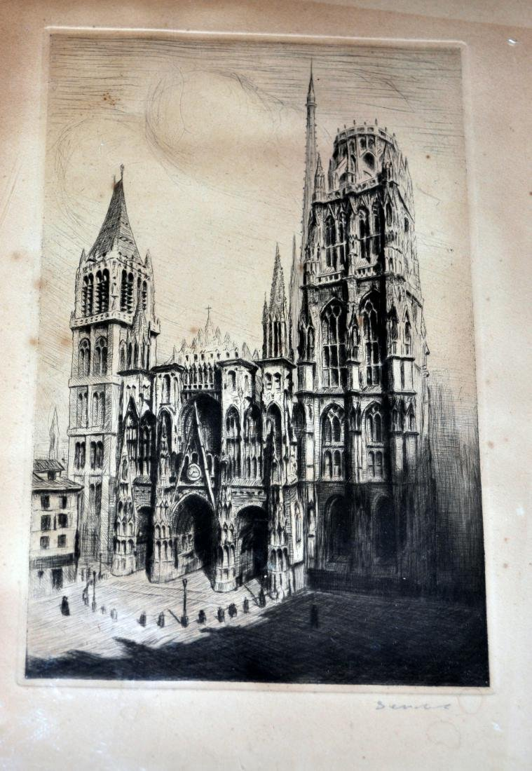 Vienna Cathedral signed etching