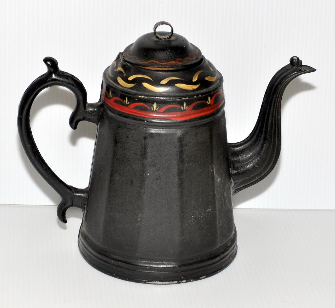 Early toleware coffe pot hand painted