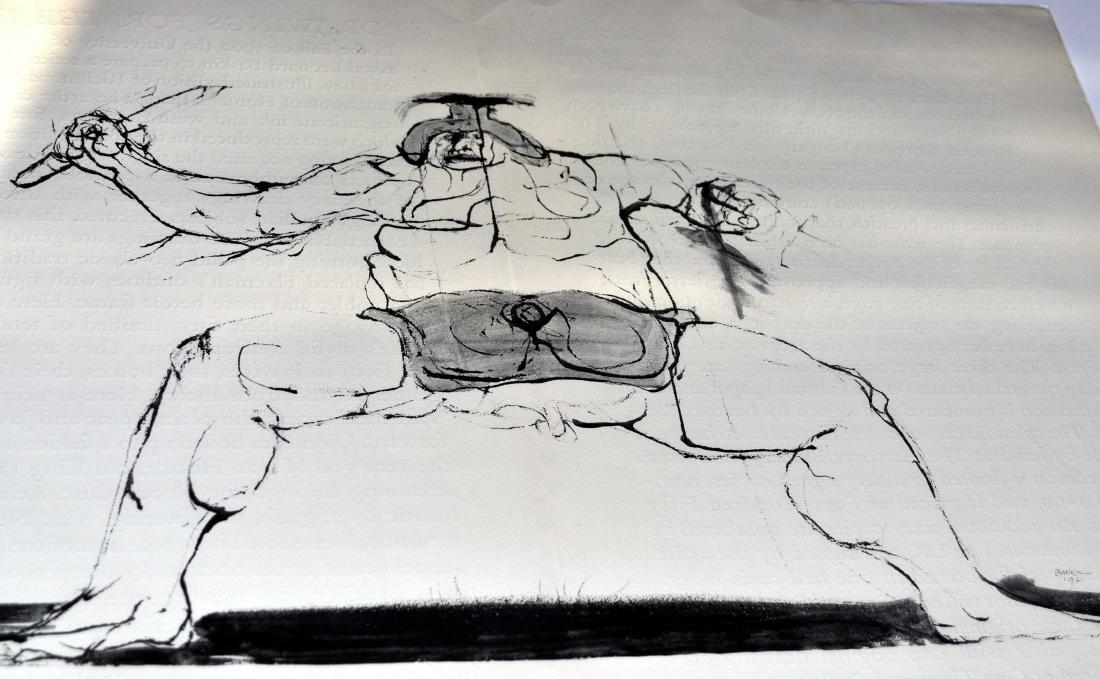 Leonard Baskin pencil signed etching