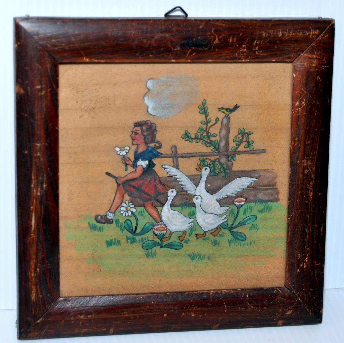 Vintage watercolor Folk art