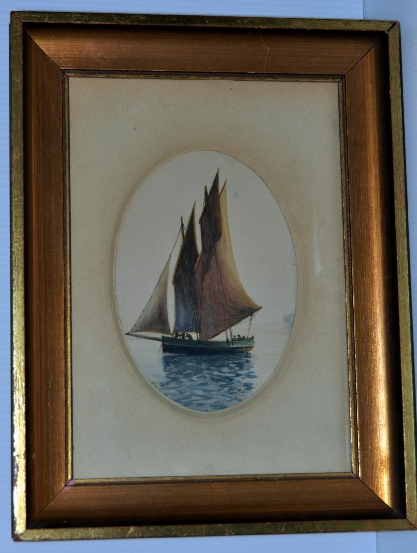 Watercolor sailing ship 19th c.