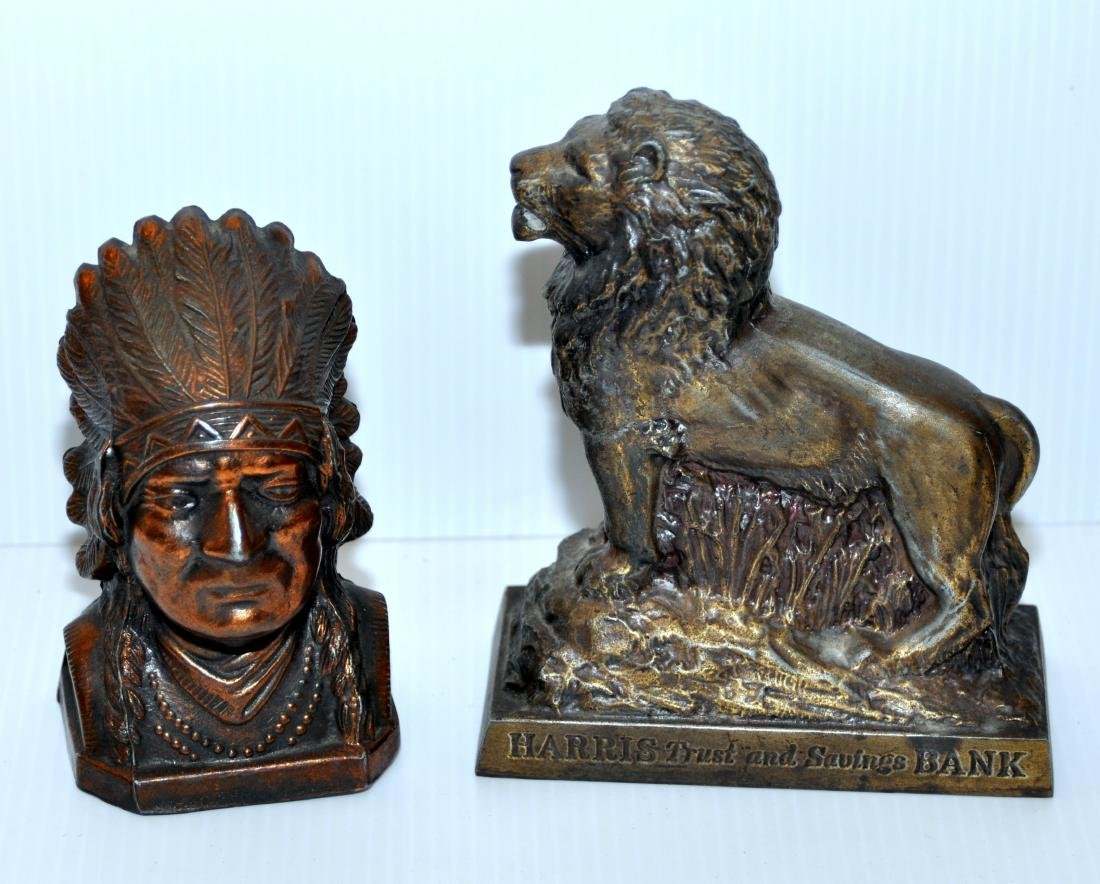 Indian chief bank , Lion bank vintage