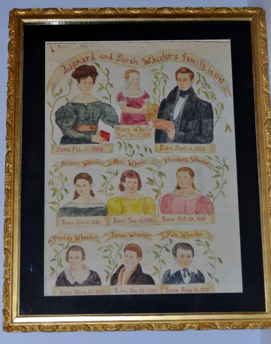 Watercolor 1845 Leonard -Sarah Wheelers family history