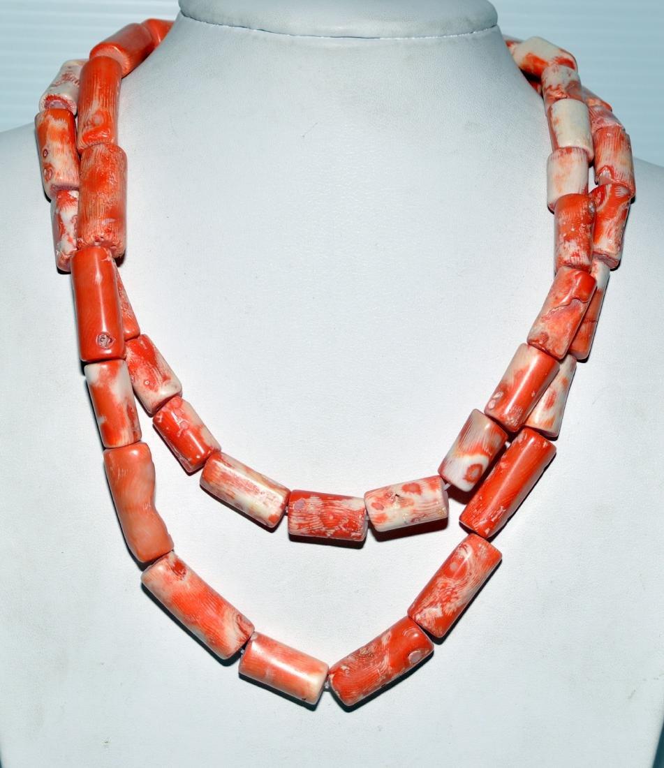 Apricot orange coral necklace