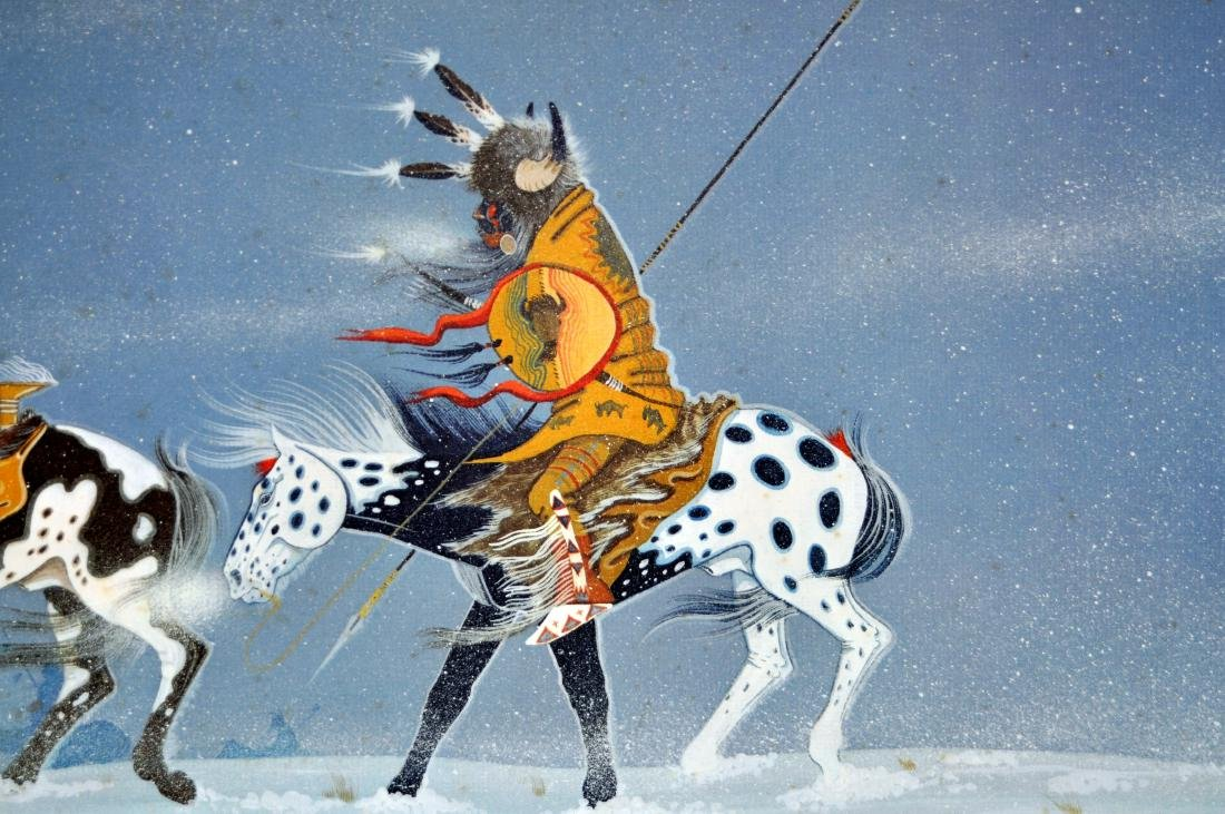 Rance Hood signed print Indians/horse back - 4