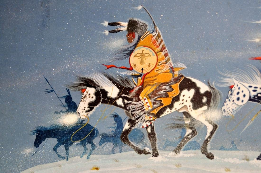 Rance Hood signed print Indians/horse back - 5