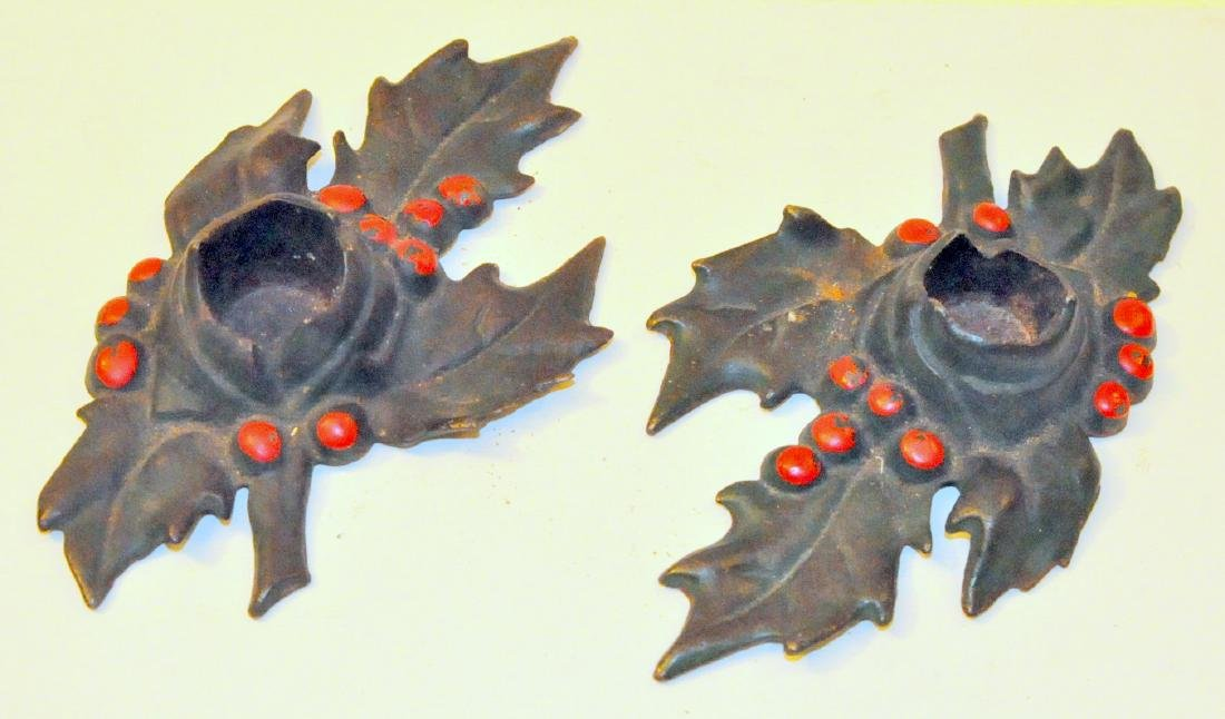 Christmas holly vintage candleholders