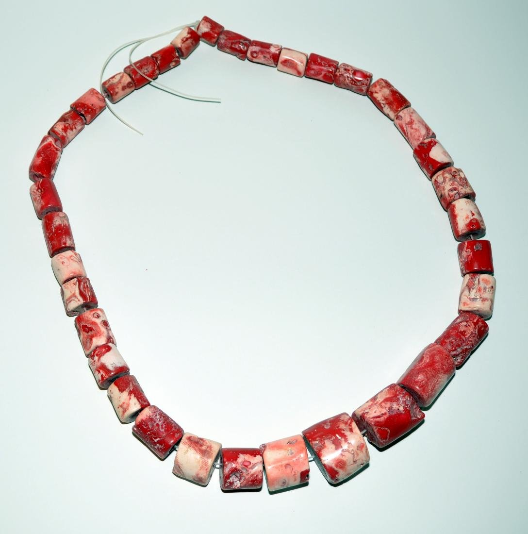 Coral necklace massive tubular beads