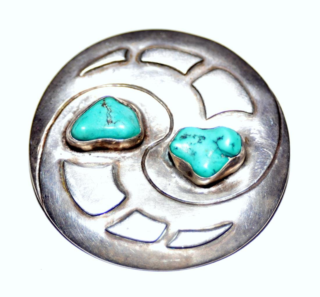 Sterling turquoise vintage pin