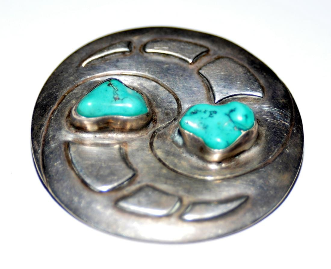 Sterling turquoise vintage pin - 2