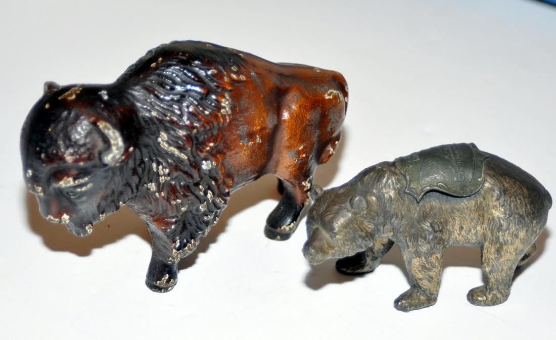 Vintage bear and buffalo statuary metal