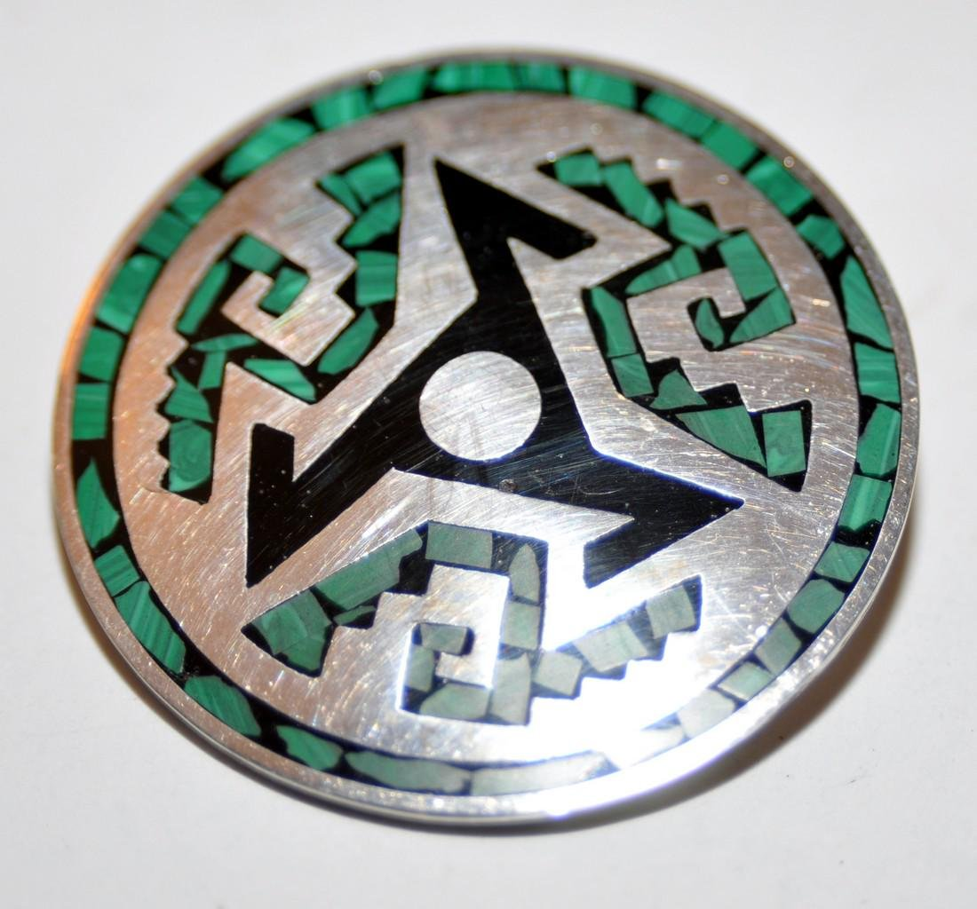 Sterling vintage inlaid pin Mexican
