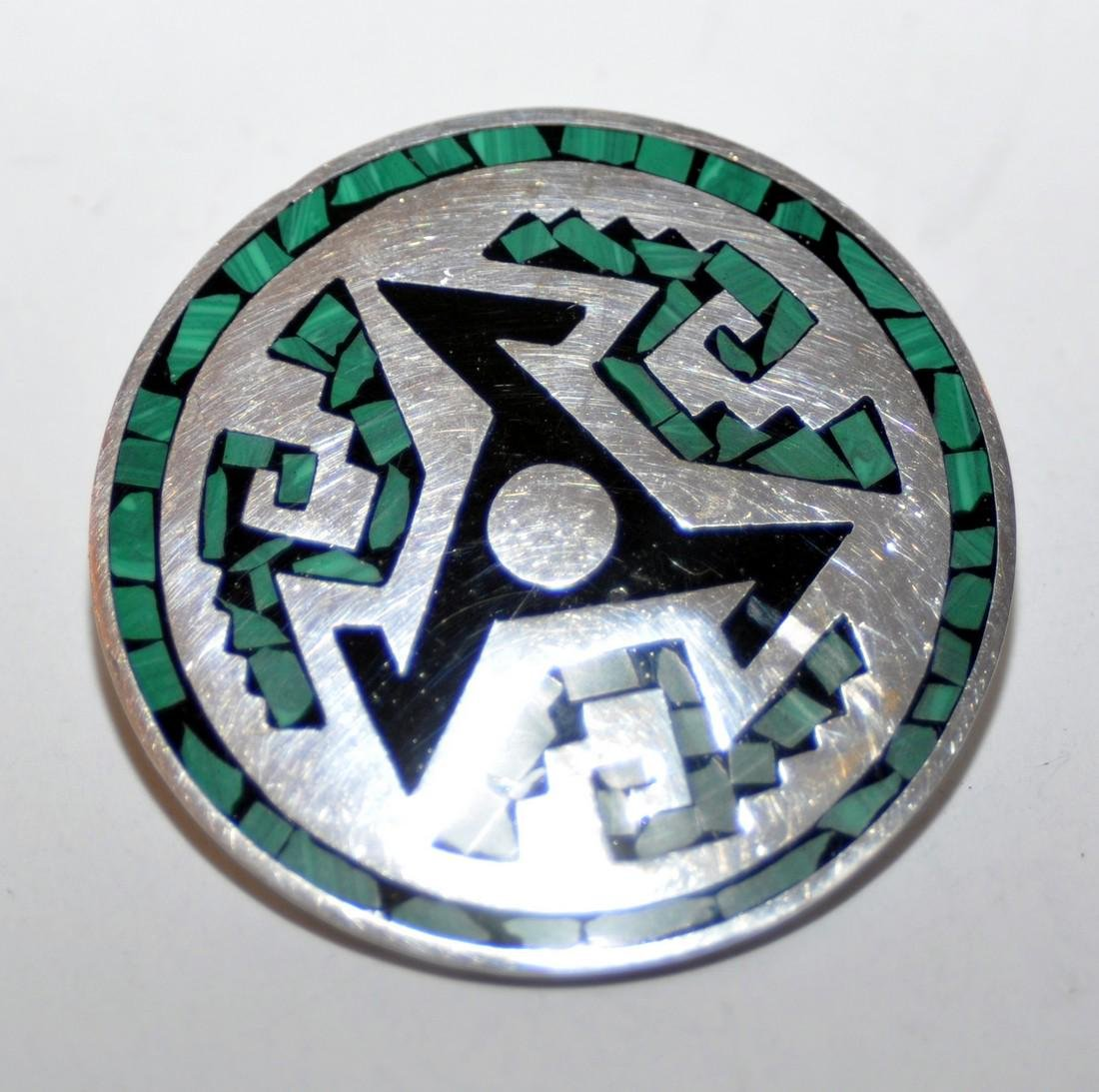 Sterling vintage inlaid pin Mexican - 2