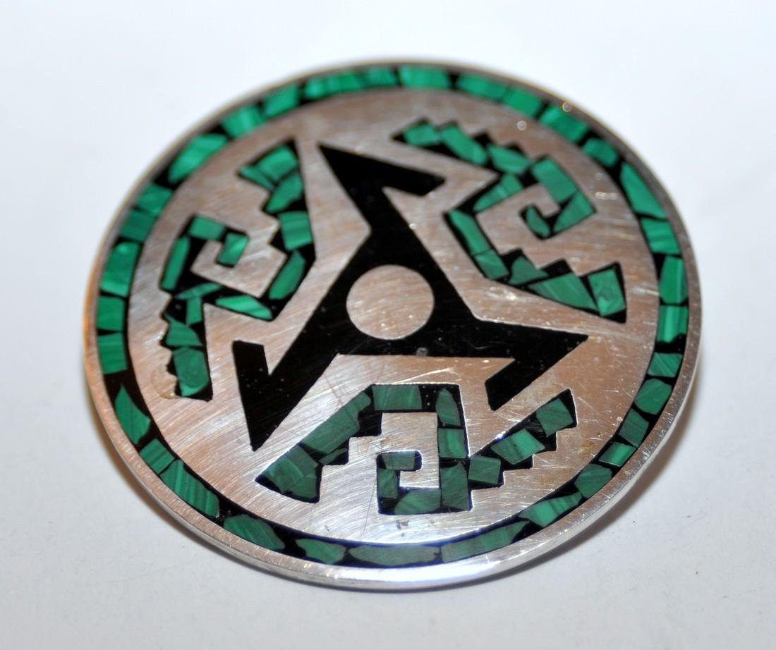Sterling vintage inlaid pin Mexican - 3