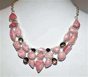 Rhodocrosite , smoky quartz and garnet necklace