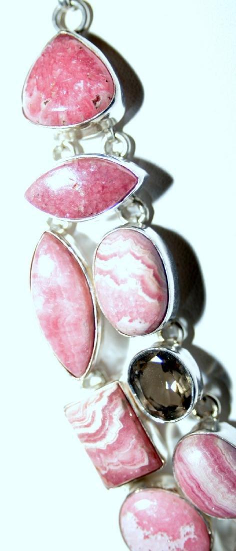 Rhodocrosite , smoky quartz and garnet necklace - 6