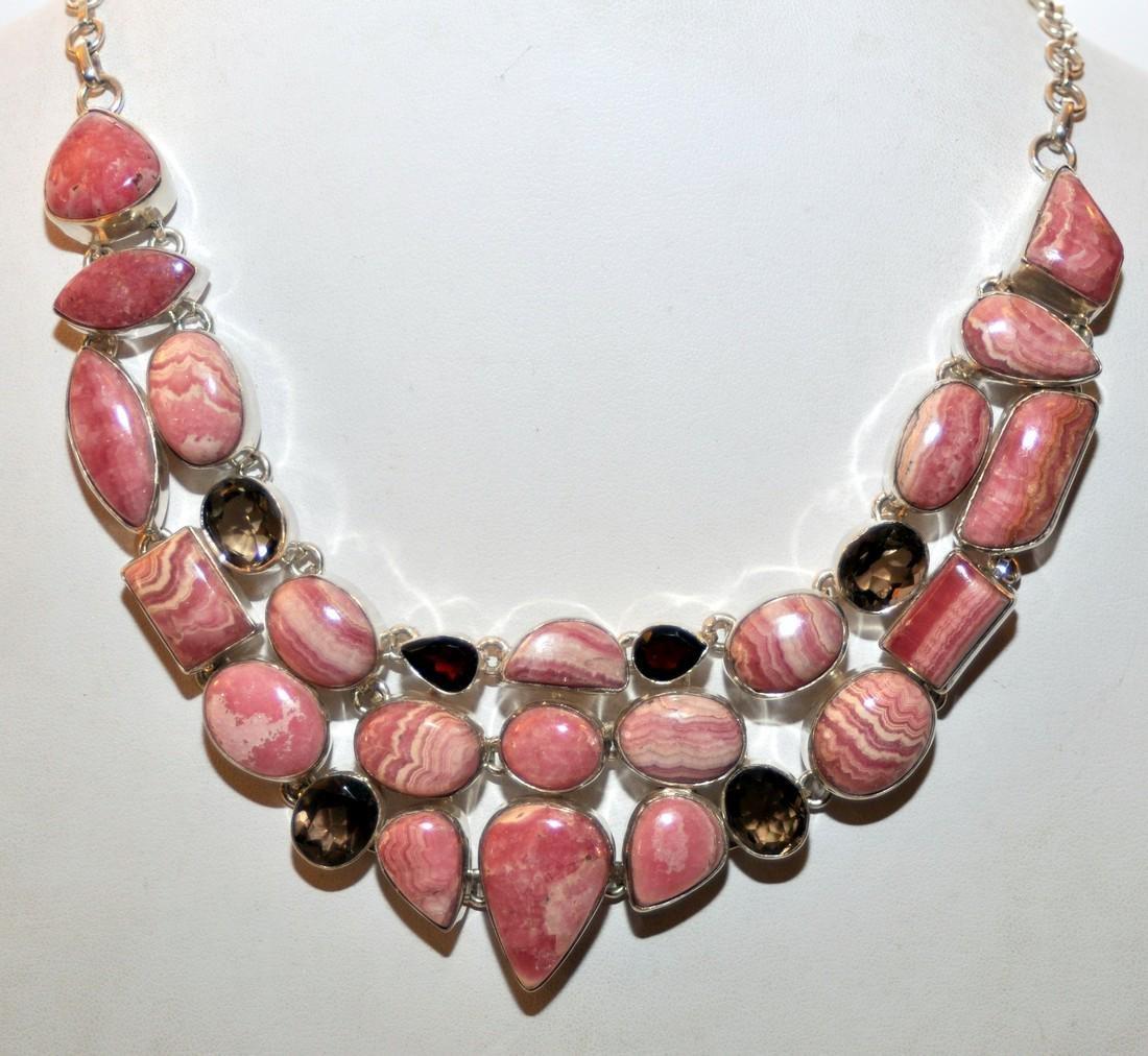 Rhodocrosite , smoky quartz and garnet necklace - 7