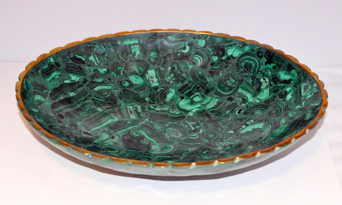 Malachite oval gold bowl
