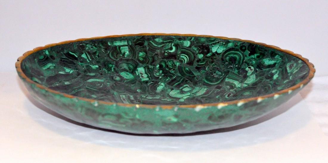Malachite oval gold bowl - 2