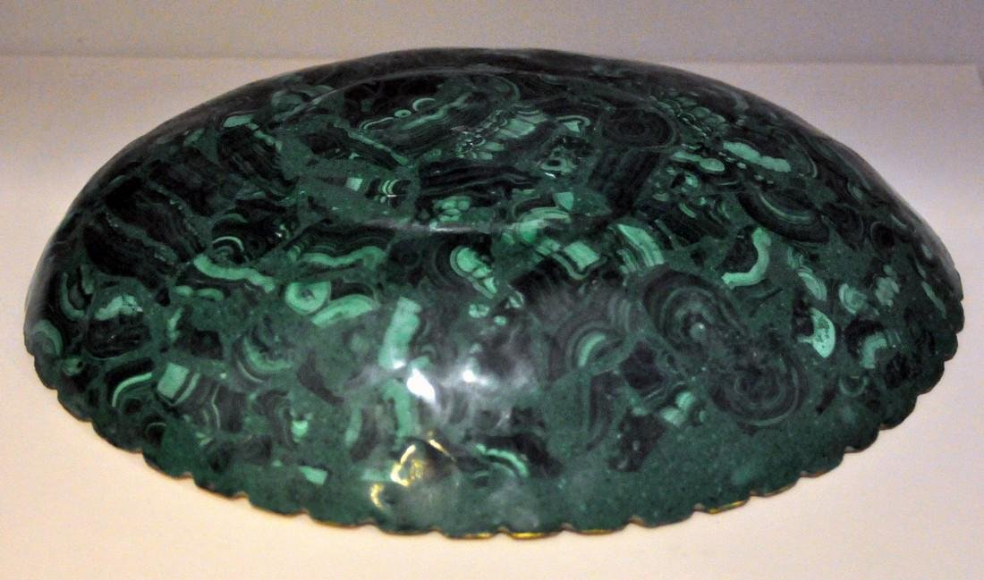 Malachite oval gold bowl - 3