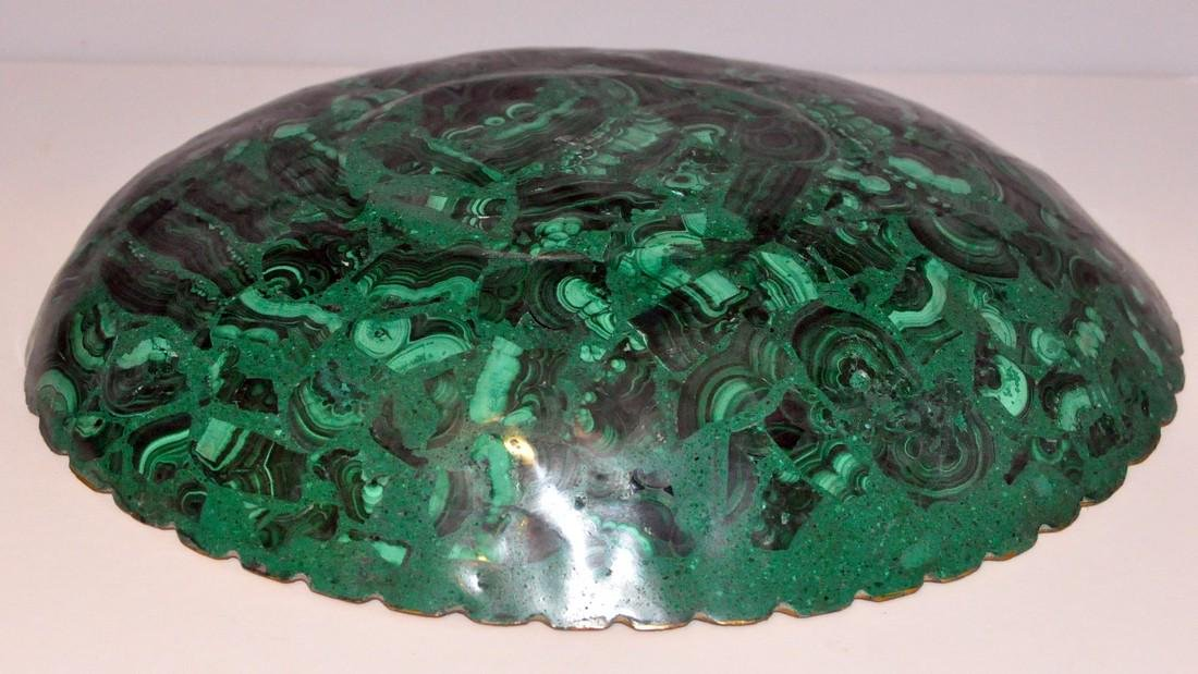 Malachite oval gold bowl - 4