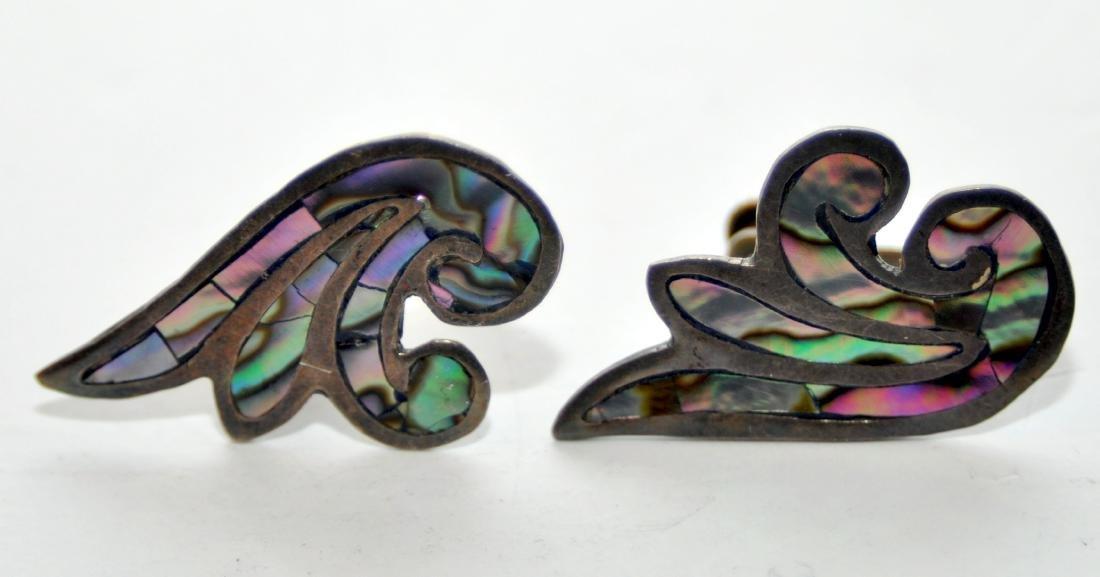 Sterling abalone earrings vintage
