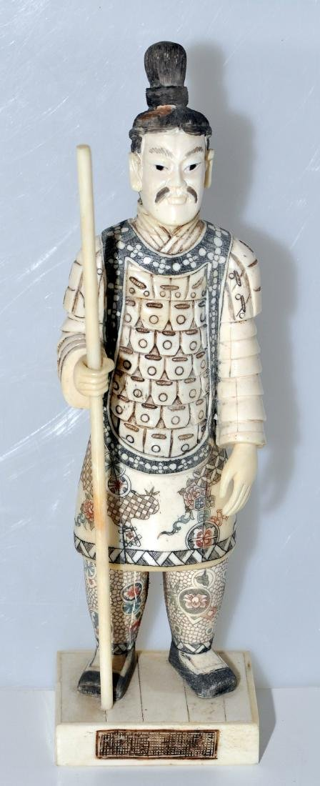 Chinese carved figure polychromed bone