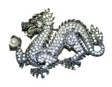 Dragon pin sterling pearl, ruby eye
