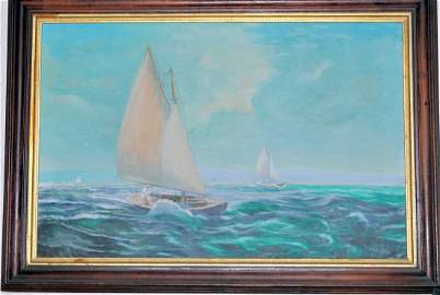Vintage oil painting nautical ships