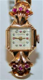 Vintage watch pink gold ruby